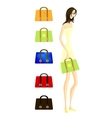 Girl with bags vector image vector image