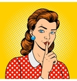 Girl with finger silence gesture vector image vector image