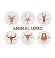 Hipster retro logotype with head of deer lion and vector image vector image