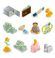 isometric cash icons set vector image