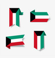 kuwaiti flag stickers and labels vector image vector image