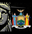 liberty over a night sky and ny icon vector image