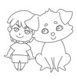 little boy with a big dog cartoon characters vector image vector image