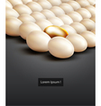 lot of white eggs and one gold vector image vector image