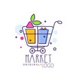 market original logo bright sale badge label vector image vector image