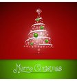Merry Christmas theme on red background vector image