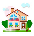 nice town house with white fence and green trees vector image