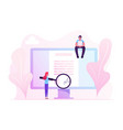 online contract signing concept tiny woman vector image vector image