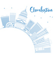 Outline Charleston Skyline with Blue Buildings vector image vector image