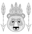 panda with warbonnet arrows in entangle style vector image vector image