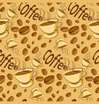 pattern of coffee beans on beige background vector image
