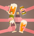 people hands clinking beer cheering party vector image
