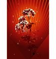 rose on red grunge background vector image