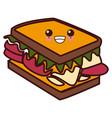 sandwich delicious food kawaii cute cartoon vector image