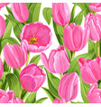 seamless pattern pink tulips realistic vector image vector image