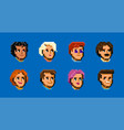 set diverse male and female avatars simple vector image