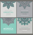set four cards or flyers with abstract henna vector image vector image
