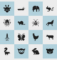 set of 16 editable zoology icons includes symbols vector image