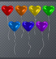 set of colorful balloons shape of heart happy vector image vector image