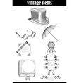 set of vintage items vector image