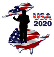 silhouette president on usa map vector image