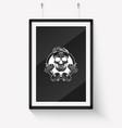 sketch sport skull with dumbbells vector image vector image