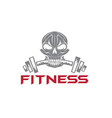 skull holding a barbell in teeth vector image vector image