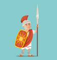 spearman legionnaire warrior soldier spear shield vector image