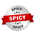spicy 3d silver badge with red ribbon vector image vector image