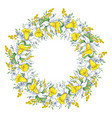 spring bright wreath with daffodils and forget-me vector image vector image