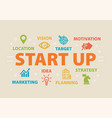 start up concept with icons vector image vector image