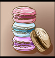 sweet delicious french dessert four macarons vector image vector image