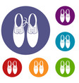 tied laces on shoes joke icons set
