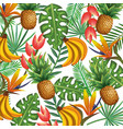 tropical garden with pineapple and banana cluster vector image vector image