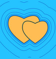 two hearts sign sand color icon with vector image