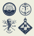 vintage monochrome sea emblems set vector image vector image