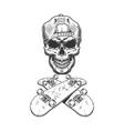 vintage monochrome skateboarder skull in cap vector image vector image