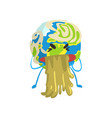 vomiting cartoon earth planet character funny vector image vector image