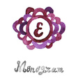 watercolor monogram vector image