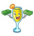 with money bag mimosa mascot cartoon style vector image vector image