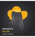 Woman in orange hat on black bg vector image vector image