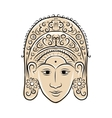 Wooden mask of indonesian dancer woman sketch for vector image