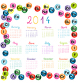 2014 calendar with vitamins and minerals for vector image