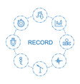 8 record icons vector image vector image