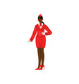 african american stewardess character wearing red vector image