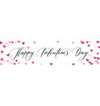 banner with hearts and happy valentines day hand vector image vector image