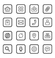 black line web icon set rounded rectangle vector image vector image