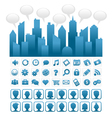 Blue Socia Media City and Icons vector image vector image