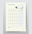 business planner calendar template monthly vector image vector image