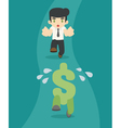 Businessman running to the money vector image vector image